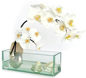 White Orchids With Pearlized Shells Yacht Silks Arrangement - Nautical Luxuries