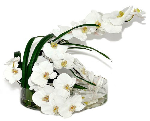 White Orchids In Low-Profile Glass Bowl Yacht Silks Arrangement