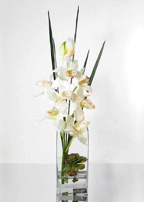 Ivory Cymbidium Orchids Tall Yacht Silks Arrangement