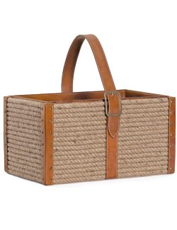 Leather & Rope Magazine/Accessory Basket - Nautical Luxuries