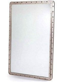 Steamship Era Riveted Steel Mirror
