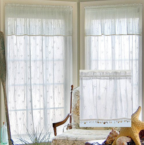 Beach Cottage Shell Trim Sheer Curtain Panels