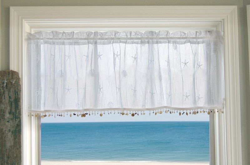 Beach Cottage Shell Trim Sheer Curtain Panels - Nautical Luxuries