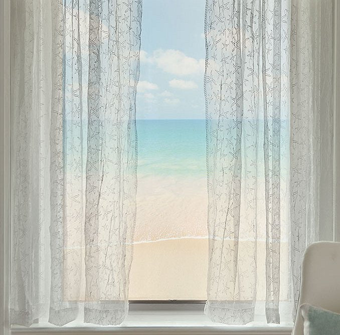 Sea Splash Starfish Sheer Curtains