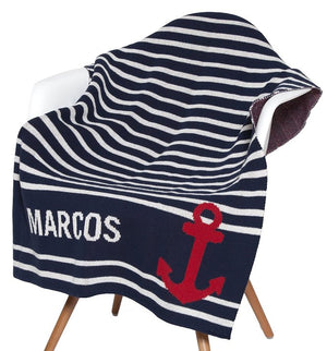 Nautical Stripe Eco-Conscious Baby Throw - Nautical Luxuries