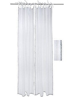 Tie-Top Linen Edge-Stitch Curtain Panels - Nautical Luxuries