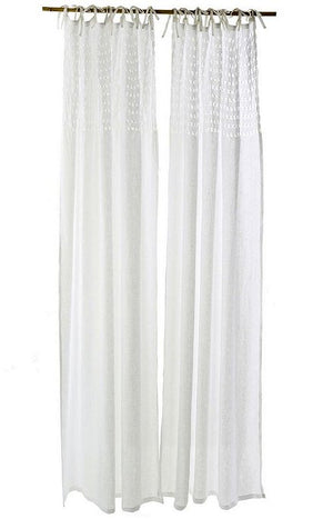 Tie-Top Linen Voile Curtain Panels - Nautical Luxuries