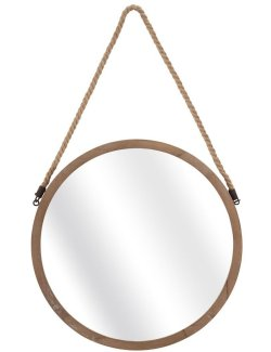 Rustic Jute Rope Round Accent Mirror - Nautical Luxuries