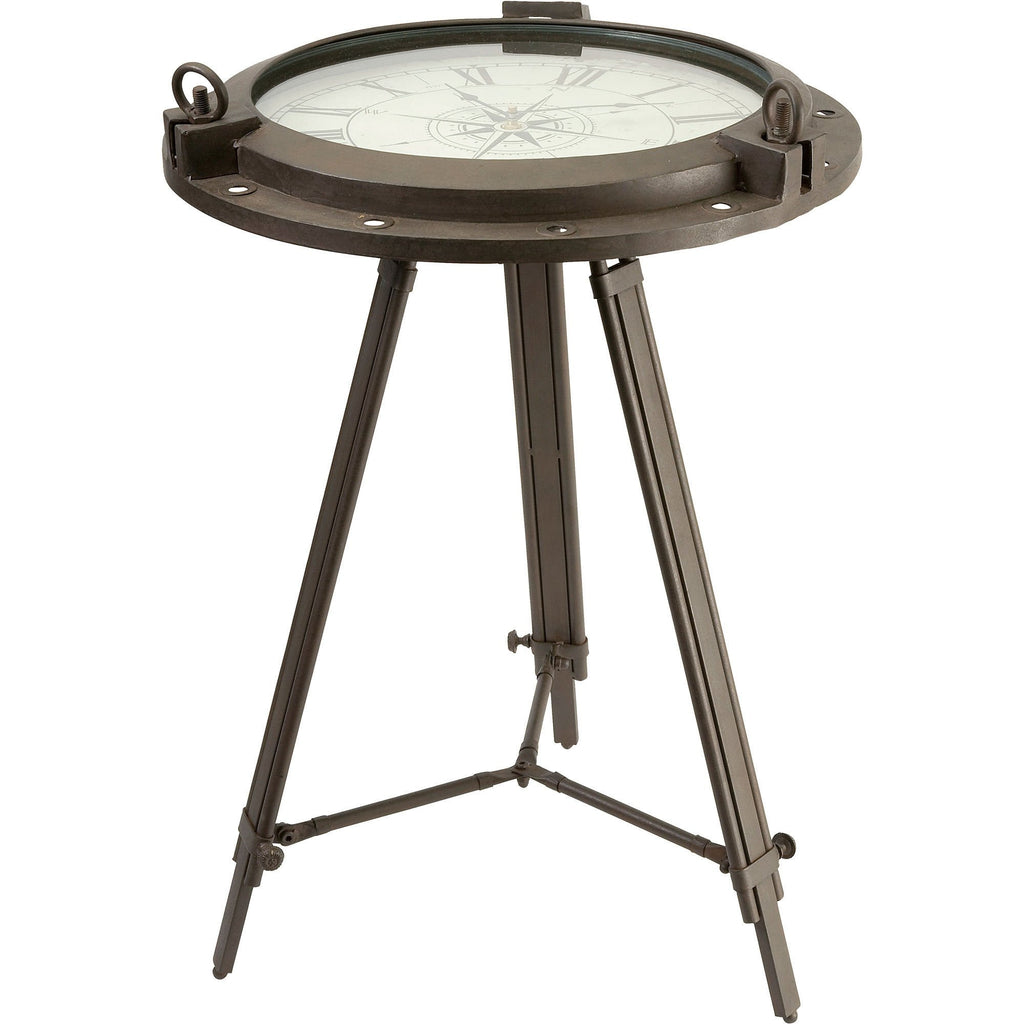 Iron Porthole Compass Rose Clock Table