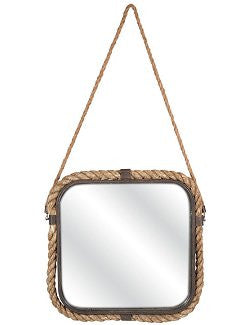 Rustic Jute Rope Square Accent Mirror