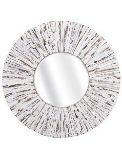 Weathered Wood Boardwalk Round Wall Mirror