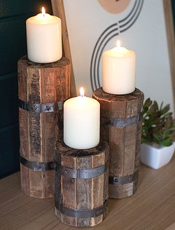 Rustic Beach: Pier Pilings Candleholder Trio - Nautical Luxuries