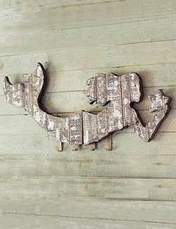 Rustic Mermaid Wall Rack