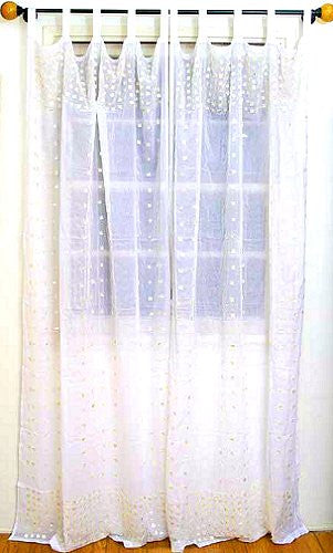 Mother Of Pearl Cotton Curtain Panel Sets Nautical Luxuries
