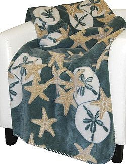 Luxury  Double-Plush Starfish & Sand Dollar Coastal Throw
