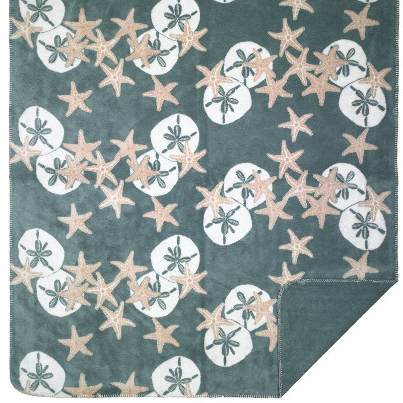 Luxury  Double-Plush Starfish & Sand Dollar Coastal Throw - Nautical Luxuries