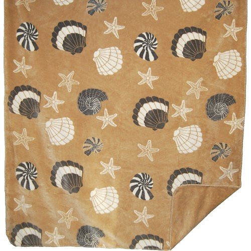 Luxury Double-Plush Sandy Seashells Coastal Throw