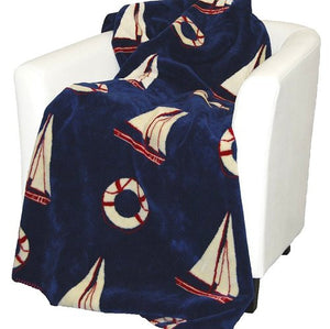 Luxury  Double-Plush Sail Away Nautical Throws - Nautical Luxuries