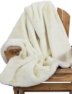 Yacht Furs Luxury Weatherproof Blanket/White Mink - Nautical Luxuries