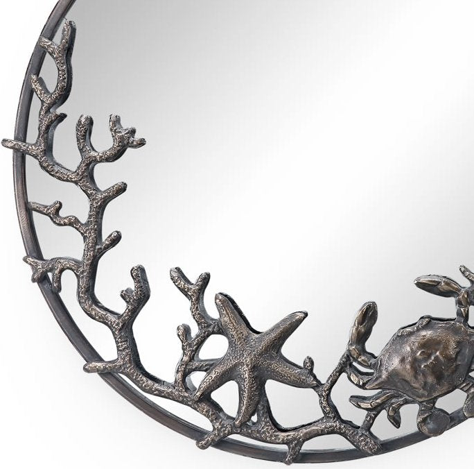Cast Iron Reef Life Coastal Wall Mirror - Nautical Luxuries