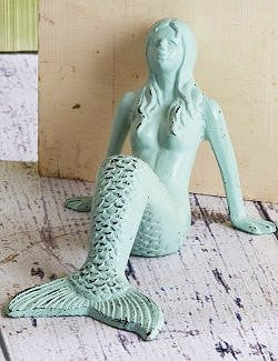 Spring Tide Metal Mermaid Beach Cottage Doorstop