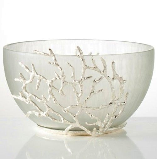 Silver Coral Reef Glass Display Bowl