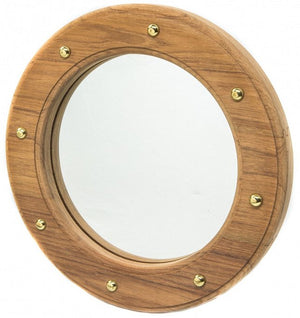 Yachting Teak Collection Porthole Accent Mirror - Nautical Luxuries
