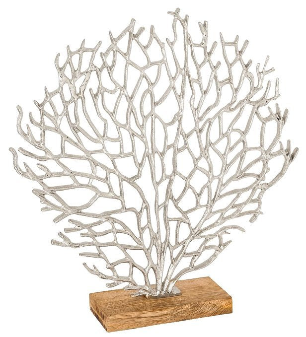 Silver Fan Coral Sculpture/Table Décor - Nautical Luxuries