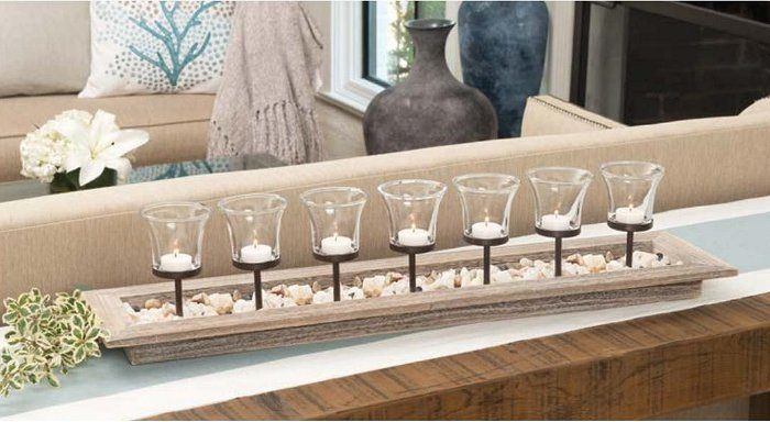 Sand Pebbles Votive Candle Centerpiece - Nautical Luxuries