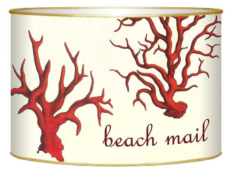 Red Coral Decoupage Beach Mail Organizer