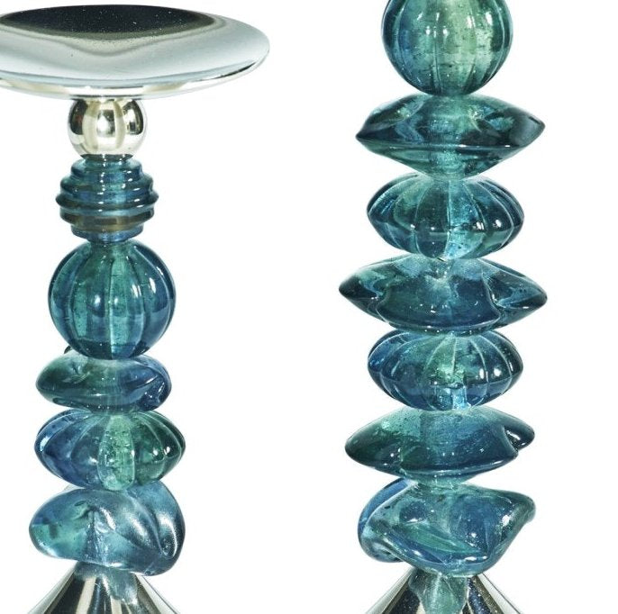 Fire & Ice Stacked Glass Candle Holder Set