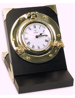 Inclined Wood Porthole Desk Clock