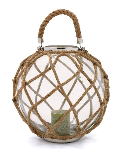 Natural Hemp Large Glass Float Hurricane Lantern