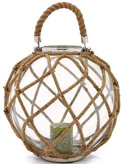 Natural Hemp Large Glass Float Hurricane Lantern - Nautical Luxuries