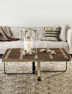 Rustic Elm Slat Wood Beach House Coffee Table - Nautical Luxuries