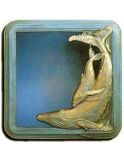 Whale And Calf Large Cast Bronze Mirror