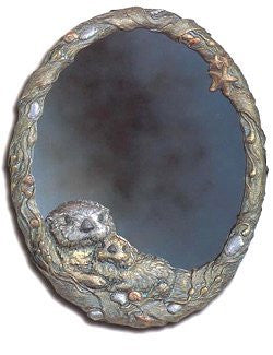 Sea Otter & Pup Cast Brass Mirror