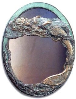 Mermaid Serenade Cast Brass Mirror