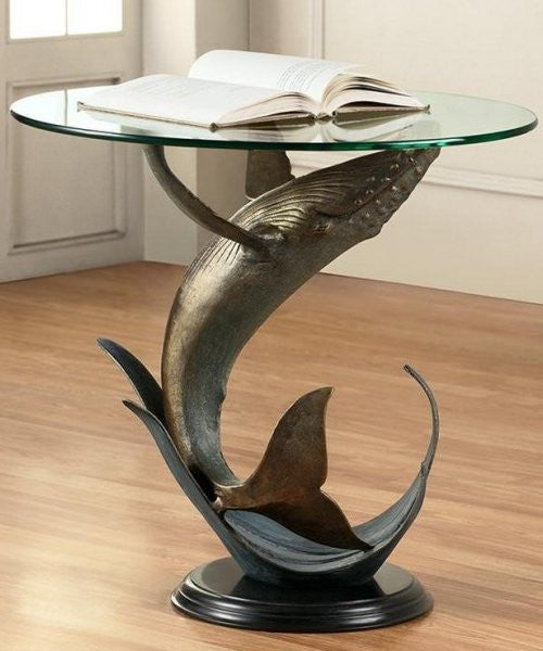 Breaching Whale Glass Top Coastal Accent Table - Nautical Luxuries