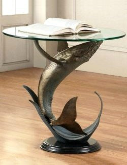 Breaching Whale Glass Top Coastal Accent Table