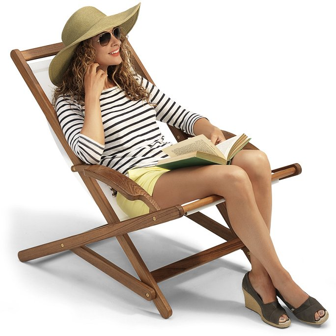 Yachting Teak Collection Sling Sun Chair - Nautical Luxuries