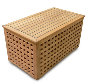 Yachting Teak Collection Crosshatch Storage Box - Nautical Luxuries
