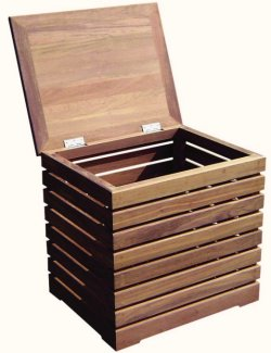 Yachting Teak Collection Slat Style Storage Box - Nautical Luxuries