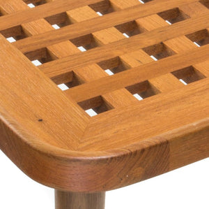 Yachting Teak Collection Open Crosshatch End Table - Nautical Luxuries