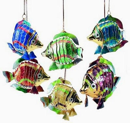 Articulated Cloisonne Enamel Blow Fish Ornaments - Nautical Luxuries