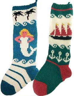 Hand Knit Coastal/Nautical Christmas Stockings