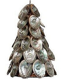 Pearl Gem Abalone Shell Tree Ornament Set