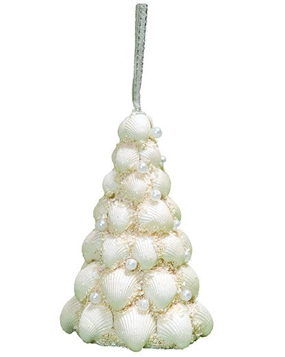 Pearl Gem Clamrose Shell Coastal Tree Ornament Set