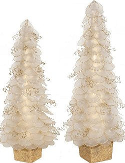 Glittering Natural Capiz Shell Coastal Tabletop Trees