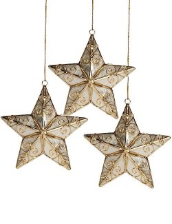 Gold Filigree Capiz Shell Star Ornament Set